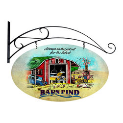 Past Time Signs - Barn Finds Double Sided Oval Metal Sign with Wall Mount 27 x 14 Inches - - Width: 27 Inches