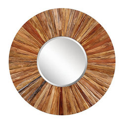 Ballard Designs - Berkley Wood Mirror - Hand finished frame. D-ring hanging hardware included. Adds a sense of space & light. Strips of natural Asian hardwood form a perfect circle around the beveled glass mirror, creating a versatile decorating piece that works in a variety of interiors. The natural color variation of the wood and exposed nail heads infuse any space with elevated texture and rustic appeal.Berkley Wood Mirror features: . . .