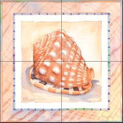 The Tile Mural Store (USA) - Tile Mural - Bordered Shell Helmet  - Kitchen Backsplash Ideas - This beautiful artwork by Paul Brent has been digitally reproduced for tiles and depicts a nice shell in the bordered series.    Tile murals with shells and decorative shell tiles are timeless and are excellent to add to your kitchen backsplash tile project or your tub and shower surround bathroom tile project. Images of sea shells on tiles add a unique element to your tiling project and are a great kitchen backsplash idea for a coastal home. Use a shell tile mural for a wall tile project in any room in your home where you want to add interest to a plain field of wall tile. Bathrooms always look best with the addition of decorative wall tiles so why not add decorative tiles with images of shells?