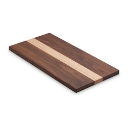 """Jewett Farms Co - Mixed Hardwood Cheese Board, Large, Walnut + Maple - For larger gatherings our 8""""x16"""" walnut + maple cheese boards make any snacks look gorgeous. The pairing of light and dark hardwoods makes a stylish and functional board that is perfect for cheese, fruit, crackers or chocolate. Each board is 0.625"""" thick, light enough to carry easily while still sturdy enough to be loaded up and cut on. The boards are sanded to perfection and finished with food grade butcher block oil. Choose from Walnut + Maple or Cherry + Maple."""