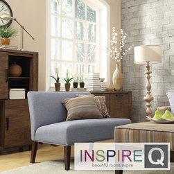 Inspire Q - Inspire Q Kayla Denim Blue Linen Armless Loveseat - The Kayla armless loveseat is covered in a fun and elegant print upholstery that brightens up the look of your living room. The simple color scheme of the piece makes it an easy addition to any room in your home.