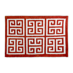 Greek Key Rug, Red and Natural - Go bold and put red on the floor with this Jonathan Adler rug.