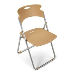 OFM - OFM Flexure Folding Chair, Butterscotch - Sleek, contemporary lines set this chair apart. Sensible folding function lets you put the chair away. Takes up very little space when folded. Steel frame is powder-coat painted in silver.