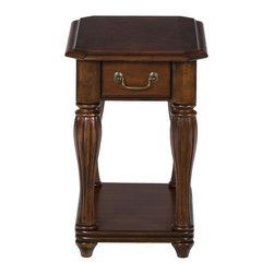Jofran - Altus Cherry Chair Side Table With Fluted Legs - This slim accent table is perfect for smaller spaces. The table has a narrow rectangular top above shapely fluted turned wood legs. Offering a traditional and timeless look, this end table will complete your traditional living room ensemble. A small drawer and shelf add function to this classic table.
