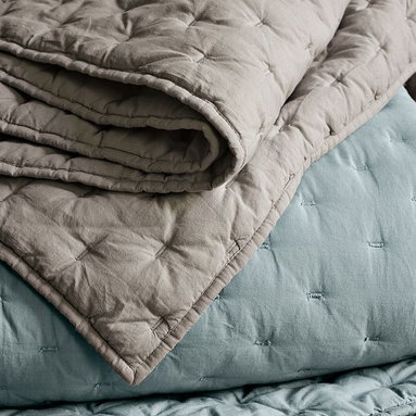 Tuck-Stitch Quilt + Shams - Layer on the texture. Airy cotton voile is tuckstitched top to bottom for rich dimension.