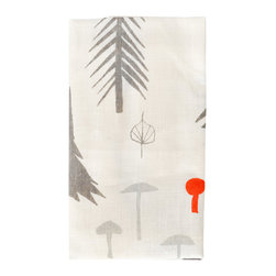 Tea Towel - A Walk In The Forest - Designed by Topher SInkinson and illustrated by Rob Halverson, this gray and red forest tea towel is hand screen-printed using water based inks on fog linen.
