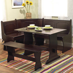 """TMS - Nook 3 Piece Dining Set - Features: -Help to utilize the dining space.-Storage under bench.-Durable set fits snugly in any corner, helping you utilize your dining space.-Set includes 1 dining corner, 1 dining table and 1 dining bench.-MDF construction.-Nook collection.-Distressed: No.-Number of Products in Set: 3.Dimensions: -Nook Corner long side: 34'' H x 63.5'' W x 20'' D.-Short Side: 34'' H x 48'' W x 20'' D.-Nook Table: 29'' H x 43'' W x 27.5'' D.-Nook Bench: 18'' H x 40'' W x 12'' D.-Table Height - Top to Bottom: 29"""".-Table Width - Side to Side: 43"""".-Table Depth - Front to Back: 27.5""""."""