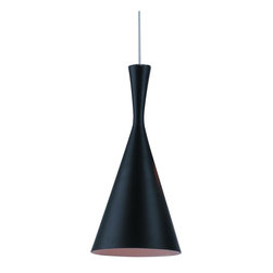 Control Brand - Jetson 7.12 in. Round Pendant Lamp - Three part series not included. Requires one 40 W bulb. Funnel shaped. Hand made craft from spun brass. Hand beaten interior. Made from carbon steel and aluminum. Atinated matt black finish. 7.13 in. Dia. x 14.63 in. H (2.2 lbs.)