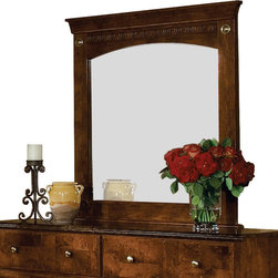 Standard Furniture - Standard Furniture San Miguel 38 Inch Mirror in Lafayette Oak - San Miguel, a Frisco brand, captures fashion and class through meticulous craftsmanship and attention to detail. Wood products with simulated wood grain laminates. This group may contain plastic parts. French dovetail construction throughout enhances durability. Roller side drawer guides provide ease and convenience. Cast metal hardware encompasses a beautiful antique look with simulated brass finish. Beautiful simulated Lafayette Oak color and contrasting Olive Ash Burl color finishes give the look and feel of quality and elegance. Surfaces clean easily with a soft cloth.