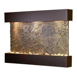 Adagio - Reflection Creek Wall Fountain - Take a moment for quiet reflection with the help of this wall fountain. It draws upon the feng shui principles of stone, metal, glass and water to help balance the energy in your space. Whether placed in a guest bath, living room, spa or even an office waiting room, it has the power to soothe all who enter.
