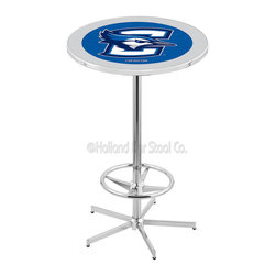 Holland Bar Stool - Holland Bar Stool L216 - 42 Inch Chrome Creighton Pub Table - L216 - 42 Inch Chrome Creighton Pub Table  belongs to College Collection by Holland Bar Stool Made for the ultimate sports fan, impress your buddies with this knockout from Holland Bar Stool. This L216 Creighton table with retro inspried base provides a quality piece to for your Man Cave. You can't find a higher quality logo table on the market. The plating grade steel used to build the frame ensures it will withstand the abuse of the rowdiest of friends for years to come. The structure is triple chrome plated to ensure a rich, sleek, long lasting finish. If you're finishing your bar or game room, do it right with a table from Holland Bar Stool.  Pub Table (1)