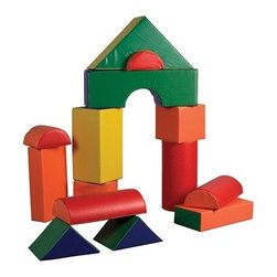 Ecr4kids - Ecr4Kids Softzone 14 Piece Jumbo Soft Building Blocks Construction Play Set - A set of 14 jumbo soft blocks, designed just for young architects, engineers and builders! Little ones can build up, out and all around with these lightweight jumbo blocks. Encourages social interaction, imagination and invention as well as gross and fine motor skills. Soft, sturdy, polyurethane foam shapes are covered in reinforced, phthalate-free vinyl to create a comfy and stimulating learning environment.