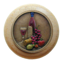 """Inviting Home - Best Cellar Natural Wood Knob (clear finish with hand-tinted brass) - Best Cellar Natural Wood Knob in clear finish with hand-cast hand-tinted brass insert; 1-1/2"""" diameter Product Specification: Made in the USA. Fine-art foundry hand-pours and hand finished hardware knobs and pulls using Old World methods. Lifetime guaranteed against flaws in craftsmanship. Exceptional clarity of details and depth of relief. All knobs and pulls are hand cast from solid fine pewter or solid bronze. The term antique refers to special methods of treating metal so there is contrast between relief and recessed areas. Knobs and Pulls are lacquered to protect the finish. Alternate finishes are available."""