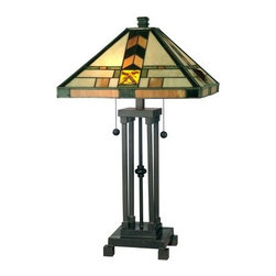 Dale Tiffany - Dale Tiffany TT10035 2 Light Mission Table Lamp - Traditional / Classic 2 Light Mission Table Lamp with Art Glass ShadeFeatures:
