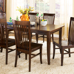 """Steve Silver Furniture - Steve Silver Angel 7 Piece Rectangular Dining Room Set in Espresso - Traditional yet modern  the Angel Dining Collection is modest enough for everyday use  and easy to dress up for formal occasions. The espresso Angel table has a 36"""" x 60"""" surface  large enough to seat six comfortably.  Pair with espresso Angel side chairs and server to complete the look."""