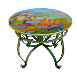 "Hand Painted Dining Table Top, 36"", Provence Cottage design -"