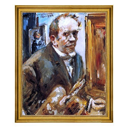 """Lovis Corinth-16""""x20"""" Framed Canvas - 16"""" x 20"""" Lovis Corinth Self Portrait with Palette framed premium canvas print reproduced to meet museum quality standards. Our museum quality canvas prints are produced using high-precision print technology for a more accurate reproduction printed on high quality canvas with fade-resistant, archival inks. Our progressive business model allows us to offer works of art to you at the best wholesale pricing, significantly less than art gallery prices, affordable to all. This artwork is hand stretched onto wooden stretcher bars, then mounted into our 3"""" wide gold finish frame with black panel by one of our expert framers. Our framed canvas print comes with hardware, ready to hang on your wall.  We present a comprehensive collection of exceptional canvas art reproductions by Lovis Corinth."""