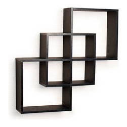 "Danya B. - Intersecting Squares Decorative Wall Shelf, Black - Decorative wall shelves show 3 boxes that intersect and connect with each other creating a geometric pattern with 6 openings. Hidden perforations secure to nails or screws, and allow for the piece to be hung either vertically or horizontally.  With its contemporary  finish, it is the ideal accent for any living space. Made of laminated MDF, it attaches to the wall with two keyhole perforations in the back, which secure to nails or screws showing no visible hardware.  Minor assembly required.  Color: Black or White.  Measures 23.5 x 5 x 23.5"".  Weight capacity: 16lbs. Made in China"