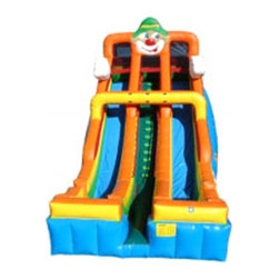 Kidwise - Kidwise 24 ft. Double Lane Inflatable Slide - Circus - KE-SL3162 - Shop for Tents and Playhouses from Hayneedle.com! Add a piece of the big top to your next event with the Kidwise 24 ft. Double Lane Inflatable Slide - Circus. This dual slide attraction features an exciting circus theme and is the perfect addition to birthday parties church functions fairs festivals or block parties. It s made of durable 18-ounce colorful PVC vinyl and features safety netting and curved stop walls. It also comes complete with blower repair kit stakes tarp and even a blank banner for advertising. All slides come with replaceable high-density foam steps and replaceable slide blankets.About Kidwise ProductsThis item is made by Kidwise Outdoors a company whose focus is safe fun excitement for kids. Kidwise strives to promote safe play for kids of all ages through outside activities. Their line of products includes swing sets trampolines inflatable bouncers bikes sport goals and many other items to choose from. Kidwise guarantees all of their products against defects. Like Hayneedle their goal is 100% satisfaction from customers. Their product lines focus on kid-friendly items that are fun to play with and stimulate balance and a healthy lifestyle for kids.
