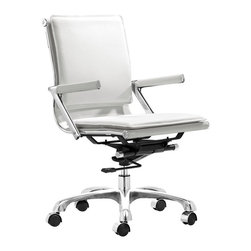 Zuo Modern - Lider Plus Office Chair, White - Lider Plus Office Chair is made from a chromed steel frame with soft neoprene arm pads, a locking tilt adjustment, and rolling base. With its ergonomic shape, padded back and seat cushions, the Lider Plus office chair provides long term comfort. You can change the angle of the back of the chair with the tilt adjustment and the five-star base with rolling casters permits seamless movement from one activity to another. Lider Plus Office Chair lends a touch of sophistication to your a home, office, or conference room.