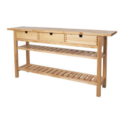 Norden Occasional table - I like the idea of adding impermanent counter space to my kitchen, and the shelving underneath this piece is perfect for wooden crates or wire baskets full of supplies that I want hidden.
