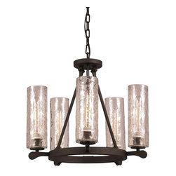 Hammered Glass 5 Light Chandelier -