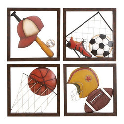 ecWorld - Casa Cortes Diversity of Sports Metal Wall Decor - The Diversity Sports metal wall hanging sculpture is special gift for the a sports enthusiast. The four panels depict the equipment needed for four favorite sports: baseball, soccer, basketball and football. Perfect for the family room, game room, or sports enthusiast's bedroom. The bright colors of brown, black, yellow, and white will not offend any color scheme because the subject matter here is foremost.