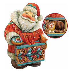 "Artistic Wood Carved Santa Claus with Cat Sculpture - Measures 6""H x 4.5""L x 3.5""W and weighs 1 lb. G. DeBrekht fine art traditional, vintage style sculpted figures are delightful and imaginative. Each figurine is artistically hand-painted with detailed scenes including classic Christmas art, winter wonderlands and the true meaning of Christmas, nativity art. In the spirit of giving G.DeBrekht holiday decor makes beautiful collectible Christmas and holiday gifts to share with loved ones. Every G. DeBrekht holiday decoration is an original work of art sure to be cherished as a family tradition and treasured by future generations. Some items may have slight variations of the decoration on the decor due to the hand painted nature of the product. Decorating your home for Christmas is a special time for families. With G. DeBrekht holiday home decor and decorations you can choose your style and create a true holiday gallery of art for your family to enjoy."