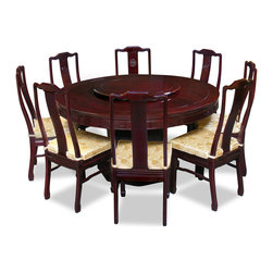 China Furniture and Arts - 60in Rosewood Longevity Design Round Dining Table with 8 Chairs - Exhibiting its pleasing simple lines in a distinct Ming (1368-1644) style, this exquisite dining set is intricately carved in Chinese key and longevity symbols. Completely handmade in solid rosewood by artisans in China, using the traditional joinery technique. One removable lazy Susan is included for your convenience. Hand applied dark cherry finish.