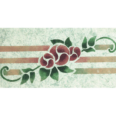 """Stencil Ease - Floral Stripe Stencil - Floral Stripe Home Decor Stencil European Classic Stencil Contains: 1 - 6"""" x 18"""" Stencil Sheet Actual Size: 4 1/2"""" high x 12 1/2"""" repeat (11.43 cm x 31.75 cm) European Classic Stencils are simple one part stencils. Wonderful for the beginning stenciler using one color as well as the more experienced artisan. The design shown here was stenciled using a stippling technique on a Faux Finish background. This design was painted using the following Spill Proof stencil paint colors: SP-36 Rich RedSP-23 VioletSP-24 Navy SP-30 Autumn brownSP-08 Telemark Green Complete kit comes with stencils paints and 1 T1-68 double ended stencil brush."""