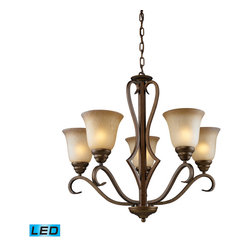Elk Lighting - EL-9328/5-LED Lawrenceville LED 5-Light Chandelier in Mocha - With a casual elegance and a touch of classic styling, the Lawrenceville Collection will enhance and bring warmth to any room setting. Relaxed proportions, antique amber glass, and our new mocha finish will make for an attractive, yet understated ambiance. - LED, 800 lumens (4000 lumens total) with full scale dimming range, 60 watt (300 watt total)equivalent, 120V replaceable LED bulb included.