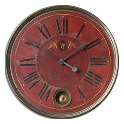 Uttermost - Red Antiqued Wall Clock with Internal Pendulum-23 in. - Vintage  Clock  with  crackled  and  weathered  clock  face  on  wood  laminate.  The  outer  rim  is  constructed  from  antiqued  nickel-plated  cast  brass.  Includes  an  internal  pendulum.  Villa  Tesio  style  clock  with  black  roman  numerals.  Requires  1-AA  battery.