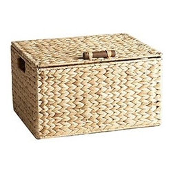 Water Hyacinth Box with Lid - Woven baskets can add wonderful texture to a space. This hand-woven lidded basket provides that texture while stowing away items neatly.