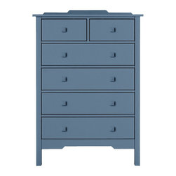Bay 2-Over-4 Dresser - Simple architectural lines make the Bay Dresser Collection becoming companions to your bedroom and sensible, attractive places to put things away. The Bay 2 Over 4 Dresser takes up wall height and uses it to your advantage. Four spacious drawers topped off with a double set on top. Available in an amazing array of Maine Cottage® coastal color choices.