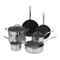 Farberware - Farberware Millennium Non-Stick Coated Stainless Steel 10-Piece Cookware Set - This non-stick coated stainless steel cookware provides the benefits of non-stick with the durability of stainless steel. Stainless steel handles are double riveted securely to the pan and are comfortable to hold.