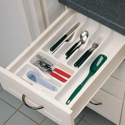 Home Decorators Collection - Rev-a-Shelf Cutlery Tray - The Rev-A-Shelf Cutlery Tray cuts down on drawer clutter and mess while optimizing the use of space. The inner compartment walls feature scoop indentations to make retrieving cutlery, utensils and more a snap. Durable rubberized polystyrene. White textured finish. Trimmable for a perfect fit.