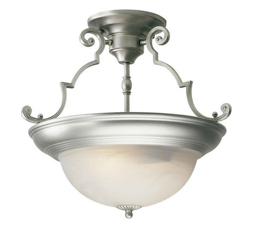 Forte Lighting - Forte Lighting 2298-02 Semi-Flush Ceiling Fixture from the Close to Ceiling Coll - Ceiling light in a brushed nickel finish with a marble glass shade. This light holds 2 light bulbs.