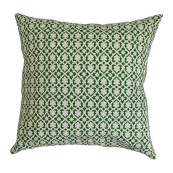 """The Pillow Collection - Orlaith Geometric Pillow Jade 20"""" x 20"""" - Inviting and modern, this accent pillow presents a cozy ambiance. Surround your bed, sofa or couch with this fluffy decor pillows which come with an interesting design. The geometric pattern in shades of green and white, brings an interesting element to your interiors. Combine this 20"""" pillow with solids and other patterns. Made from 100% plush and durable cotton fabric. Hidden zipper closure for easy cover removal.  Knife edge finish on all four sides.  Reversible pillow with the same fabric on the back side.  Spot cleaning suggested."""