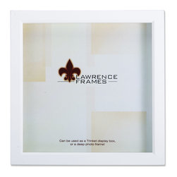 """Lawrence Frames - White Wood Treasure Box Shadow Box 10x10 Picture Frame - This high quality wood treasure shadow box frame is the perfect memory box.  With 3 4"""" of space inside , you can add treasured items, photos, and clippings.  Can be used as a deep picture frame as well.  Inside is a moveable spacer and glass which offers a variety of display options.  This beautiful narrow depth shadow box frame is constructed with quality in mind and is joined in the corners with a """"spline"""" joint for years of enjoyment.  The molding is approximately 7 8"""" wide, and 1.75"""" deep.  This shadow box frame comes individually boxed, and includes high quality black wood backing.  These display boxes can stand on their own for tabletop display, or can be displayed on the wall with included hangers for vertical or horizontal wall mounting."""
