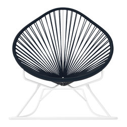 Acapulco Rocker, White Frame With Black Weave - Sit back and relax in this classic woven rocking chair. The iconic pear-shaped seat is perfect for enjoying the backyard, but looks equally stylish inside the home. Order from a rainbow of colors for a pop of personality or stay cool with classic black and you can't go wrong.