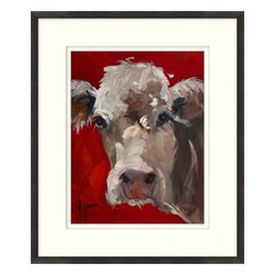 Wendover Art - Red Cow - This striking Giclee on Paper print adds subtle style to any space. A beautifully framed piece of art has a huge impact on a room for relatively low cost! Many designers and home owners select art first and plan decor around it or you can add artwork to your space as a finishing touch. This spectacular print really draws your eye and can create a focal point over a piece of furniture or above a mantel. In a large room or on a large wall, combine multiple works of art to in the same style or color range to create a cohesive and stylish space! This striking image is beautifully framed in rich espresso.
