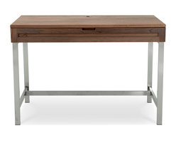 Jesper Office Furniture - Highland 75 Small Desk with Steel Base in Walnut - Features: