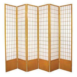 Oriental Furniture - 7 ft. Tall Window Pane Shoji Screen - Honey - 6 Panels - This extra tall Shoji Screen reworks a traditional Japanese design element for the modern home. The translucent Shoji rice paper is light and airy, perfect for unobtrusively dividing a room or providing privacy. The durable wooden frame is lightweight and portable, and includes a kick plate to guard against scuffs. This classic design is a cosmopolitan interior accent that integrates well with any style of decor.