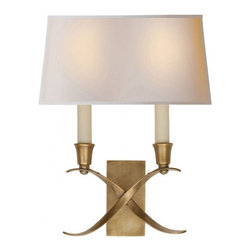 English Traditions - Small Cross Bouillotte Sconce - Small Cross Bouillotte Sconce in Antique-Burnished Brass with Natural Paper Shade