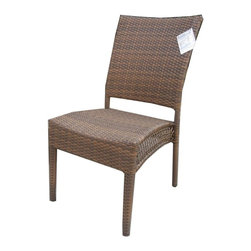 Hospitality Rattan - Grenada Patio Dining Side Chair in Viro Fiber - Create a custom dining set with single chair selections for Grenada Collection patio ensembles. These can pair with our featured round, square or rectangular tables in a matching antique brown. Structural framing is anodized aluminum with wicker and leg wraps in Viro fibers. Made of Aluminum Frame w All Weather Viro Fiber Wicker. Weather and UV resistant. No assembly required. Viro Fiber Antique Brown finish. Stackable design helpful In commercial settings. Matching dining group and pub set available. Overall: 24 in. L x 24 in. W x 37 in. H (9 lbs.). Seat height 16.5 inchesThe Grenada contemporary patio set has a fully anodized aluminum frame and woven Viro fiber, which gives this collection a unique textured surface. The Grenada collection does not require cushions. The collection also features frosted tempered glass on all its tables, along with the ability to accommodate an umbrella with the patio dining set. Cushions are optional and are not included.