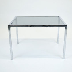 Mid-Century Side Table w/ Chrome base & Smoked Glass Top - Dimensions:L 30''  × W 22''  × H 20''