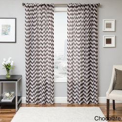 None - Fleur Chevron Back Tab Sheer Curtain Panel - Instantly update your home decor with the Fleur Stitch Chevron Sheer Window Treatments. Offering a modern and contemporary look,these curtain panels are finished with a black tab construction for faux pleats.