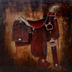 YOSEMITE HOME DECOR - Let's Ride I Art Painted on Canvas - Saddle, painted in rich tones of brown and burnt sienna with raised metallic elements and finished with lacquer.