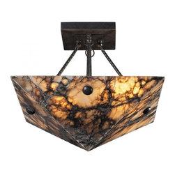 ELK Lighting - Four Light Antique Brass Bowl Semi-Flush Mount - Four Light Antique Brass Bowl Semi-Flush Mount