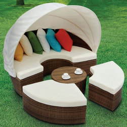 TOSH Furniture - Wicker Daybed with Canopy - TOS-GW3074SET - UV and weather resistance